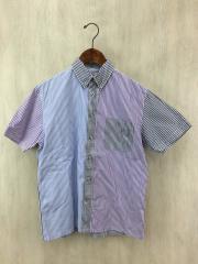 半袖シャツ/M/コットン/ストライプ/切替/アメカジ/アメセレ/ベーシック/夏物/BDシャツ/SS