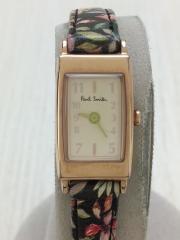 クォーツ腕時計/アナログ/レザー/WHT/マルチカラー