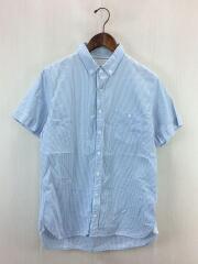 ボタンダウンシアサッカーシャツ/M/コットン/BLU/ストライプ