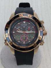 プロマスター エコドライブ/クォーツ腕時計/デジアナ/ラバー/BLK/BLK