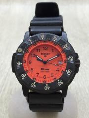 クォーツ腕時計/アナログ/PVC/BLK