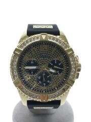 クォーツ腕時計/アナログ/ラバー/ゴールド/ブラック/U1132G1/箱付属/ゲス