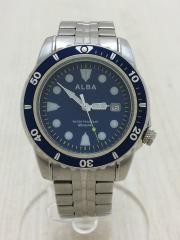 ALBA/アルバ/クォーツ腕時計/アナログ/ステンレス/BLU/SLV