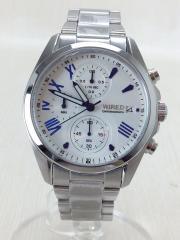 クォーツ腕時計/VD57-KZ10/アナログ/ステンレス/WHT/SLV