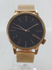 クォーツ腕時計/アナログ/ステンレス/BLK/GLD/WINSTON ROYALE