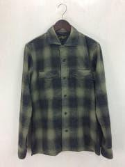 長袖オープンカラーシャツ/2/ウール/GRN/チェック/襟開/ルード/アメカジ/バイカー