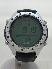 クォーツ腕時計/デジタル/レザー/GRN/BLK