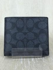 2つ折り財布/レザー/BLK/総柄