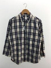 7分袖シャツ/L/リネン/NVY/チェック/ブルー×ホワイト/コットン混