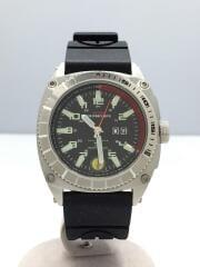 クォーツ腕時計/アナログ/ラバー/BLK/ブラック×シルバー/黒/TF0921