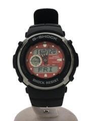 クォーツ腕時計/アナログ/RED/BLK/G-SPIKE/ブラック/ジースパイク