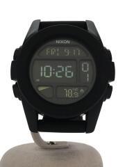クォーツ腕時計/デジタル/ラバー/BLK/ブラック/ユニット/THE UNIT