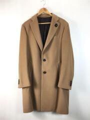 シングルチェスター/チェスターコート/52/ウール/ブラウン/6ポケット/襟デザイン/ロングアウター