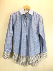 17ss/Double Stitched Shirt/長袖シャツ/XS/ブルー/ストライプ/MSS17CDG5