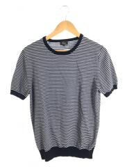 半袖ニット/Tシャツ/40/コットン/ネイビー/ボーダー