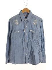 シャンブレーシャツ/刺繍/長袖シャツ/M/コットン/ブルー/エリ汚れ有