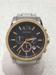 クォーツ腕時計/アナログ/ステンレス/NVY/シルバー/AX2516