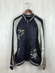 ヒャッカリョウラン/スカジャン/XL/レーヨン/ブラック/刺繍/鯉/黒