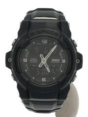 クォーツ腕時計/デジアナ/チタン/BLK/BLK