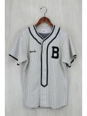 STORM BECKER/ベースボールシャツ/S/コットン/CRM/ストライプ