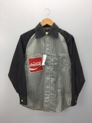 長袖シャツ/S/コットン/GRY/ストライプ/×コカコーラ/70S/ヴィンテージワークシャツ