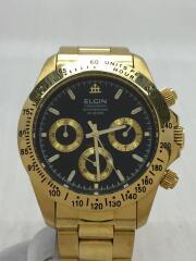 クォーツ腕時計/アナログ/ステンレス/BLK/GLD/FK-1059-SL