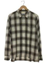 Rayon ombre check open collar shirt/長袖シャツ/BRW/PS20-SH06