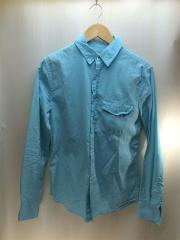 長袖シャツ/ロングスリーブ/単色/XS/コットン/ブルー/アメカジ/セレクト/USA製