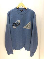 セーター(厚手)/XL/ウール/ブルー/青/プリント/ロゴ/