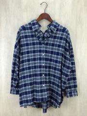 微起毛チェックシャツ/38/コットン/BLU/チェック