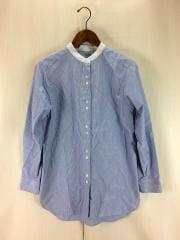 スタンドカラーシャツ/1/コットン/BLU/ストライプ