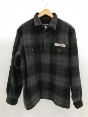 ロゴワッペン付裏起毛ウールCPOシャツジャケット/L/ウール/GRN/チェック/タバコ臭有