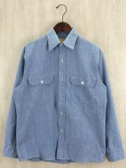 70s/シャンブレーワークシャツ/M/コットン/BLU/襟汚れ有