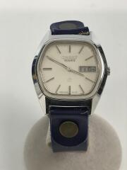 クォーツ腕時計/アナログ/レザー/SLV/NVY