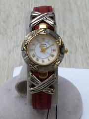 クォーツ腕時計/アナログ/WHT/RED