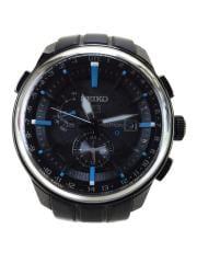 ソーラー腕時計/アナログ/ラバー/BLK
