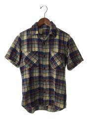 半袖シャツ/36/ウール/BLU/チェック