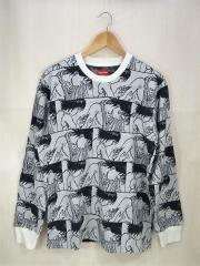 17AW/×AKIRA Syringe Jacquard L/S Top/セーター(薄手)/M/コットン/BLK