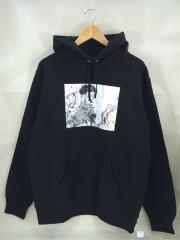 17AW/×AKIRA Arm Hooded Sweatshirt/パーカー/L/コットン/BLK/ブラック/黒