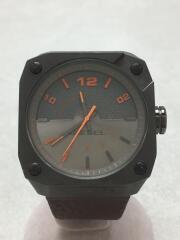 クォーツ腕時計/アナログ/レザー/GRY/BRW/グレー/ブラウン/DZ1434