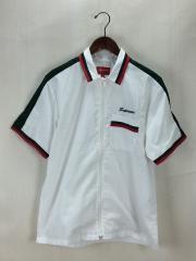 18ss/Zip Up Work Shirt/半袖シャツ/S/ポリエステル/WHT