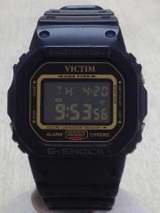 クォーツ腕時計/デジタル/--/GLD/BLK