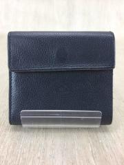 3つ折り財布/レザー/NVY