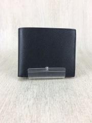 2つ折り財布/レザー/BLK/無地/コインケース無し