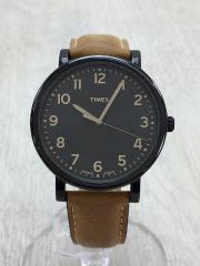 腕時計/アナログ/レザー/BLK