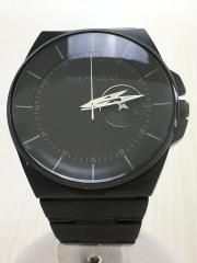 クォーツ腕時計/アナログ/ステンレス/BLK/ベルト汚れ