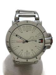 クォーツ腕時計/アナログ/ステンレス/WHT/SLV