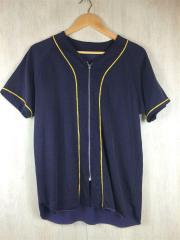 フロントジップデザイン/ベースボールシャツ/半袖シャツ/0/レーヨン/NVY/使用感有/中古