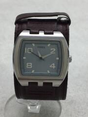 クォーツ腕時計/アナログ/レザー/BLU/BRW/jr-1001