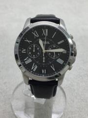 クォーツ腕時計/アナログ/レザー/BLK/BLK/FS4812/ベルト状態考慮